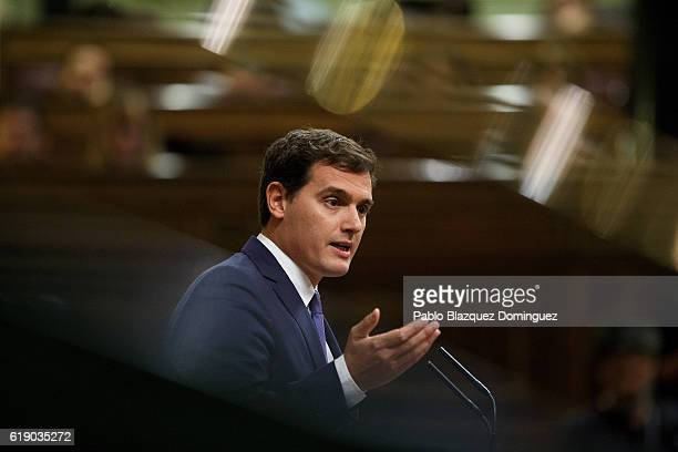 Leader of Citizens Albert Rivera speaks during the final day of the investiture debate at the Spanish Parliament on October 29 2016 in Madrid Spain...