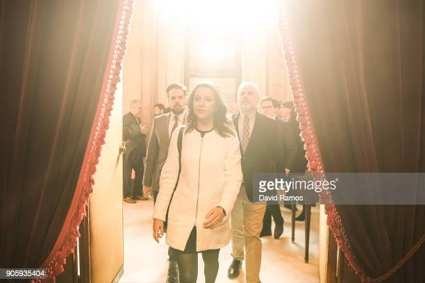 Leader of Ciudadanos party Ines Arrimadas arrives at the Parliament of Catalonia on January 17 2018 in Barcelona Spain The Parliament of Catalonia is...