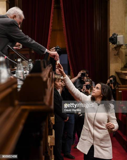 Leader of Ciudadanos party Ines Arrimadas casts her vot to elect the new President of the Parliament of Catalonia at the Parliament of Catalonia on...