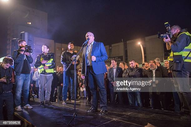 Leader of Democratic Front Andrija Mandic speak as antigovernment protesters gather at Republic Square calling for Montenegro's government to resign...