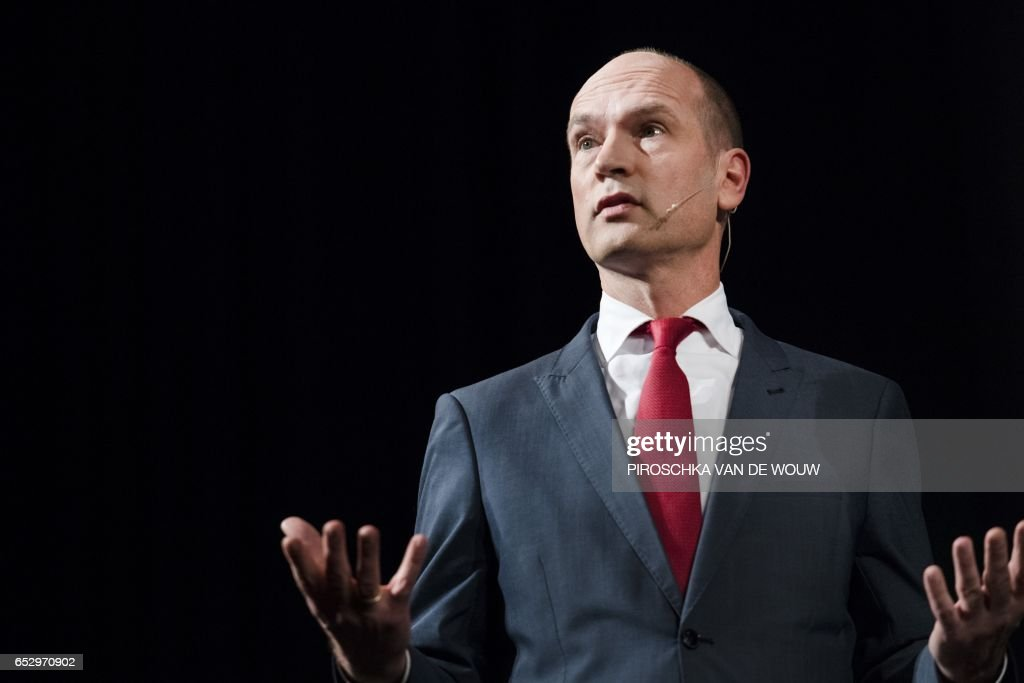 Leader of Dutch Christian Union (CU) party Gert-Jan Segers addresses guests during the Christian Party leaders debate in Ede, The Netherlands, on March 9, 2017. / AFP PHOTO / ANP / Piroschka van de Wouw / Netherlands OUT