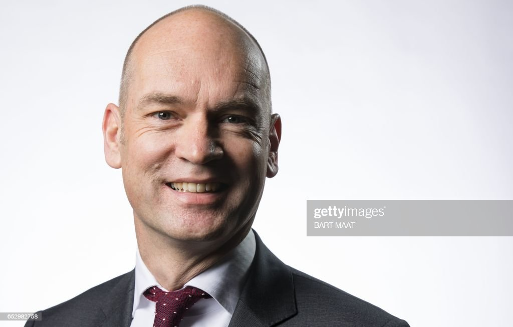 Leader of Dutch Christian Union (CU) party Gert-Jan Segers poses for a picture on the occasion of the party's campaign kick-off at the House of Representatives (Second Chamber) in The Hague, January 21, 2017. / AFP PHOTO / ANP / Bart MAAT / Netherlands OUT