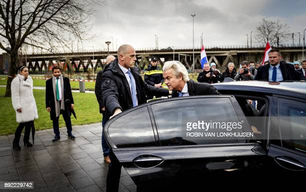 Leader of Dutch farright Party for Freedom Geert Wilders arrives for a statement in front of the Essalam Mosque in the south of Rotterdam The...