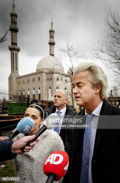 Leader of Dutch farright Party for Freedom Geert Wilders delivers a statement in front of the Essalam Mosque in the south of Rotterdam The...