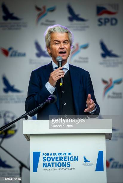 Leader of Dutch Party for Freedom Geert Wilders during a meeting of populist farright party leaders in Wenceslas Square on April 25 2019 in Prague...