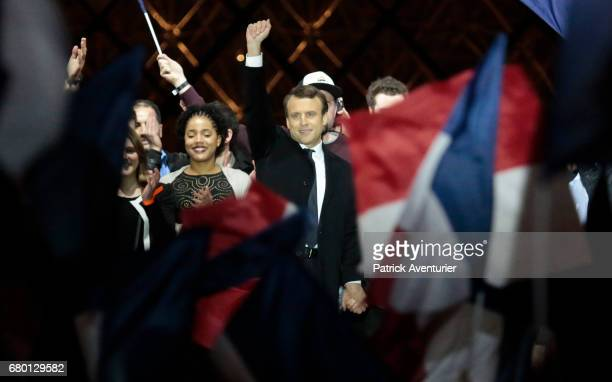 Leader of 'En Marche ' Emmanuel Macron acknowledges supporters after winning the French Presidential Election at The Louvre on May 7 2017 in Paris...