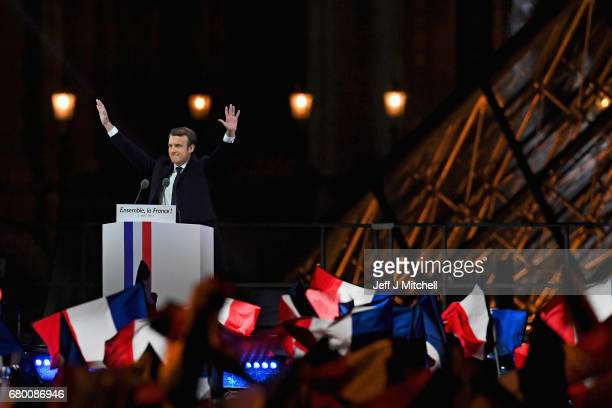 Leader of 'En Marche ' Emmanuel Macron addresses supporters after winning the French Presidential Election at The Louvre on May 7 2017 in Paris...