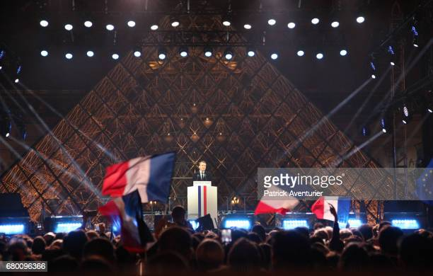 Leader of 'En Marche ' Emmanuel Macron speaks after winning the French Presidential Election at The Louvre on May 7 2017 in Paris FranceProEU...