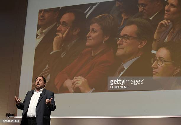 Leader of Esquerra Republicana de Catalunya leftist republican party Oriol Junqueras delivers a speech about the next steps in Catalonia's...