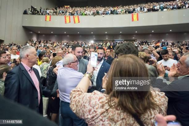 Leader of far right wing party VOX Santiago Abascal arrives at a rally at Palacios de Congresos Palexo on April 22 2019 in A Coruna Spain More than...