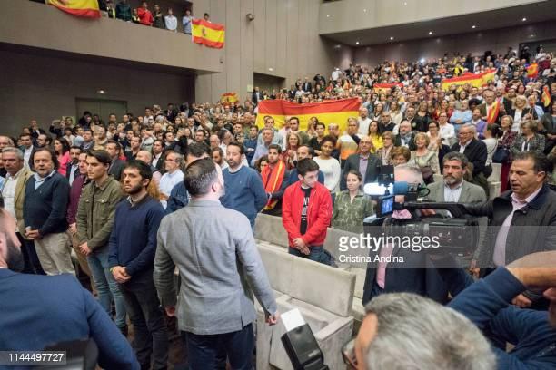 Leader of far right wing party VOX Santiago Abascal during a rally at Palacios de Congresos Palexo on April 22 2019 in A Coruna Spain More than 36...