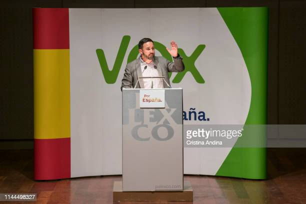 Leader of far right wing party VOX Santiago Abascal makes a speech during a rally at Palacios de Congresos Palexo on April 22 2019 in A Coruna Spain...