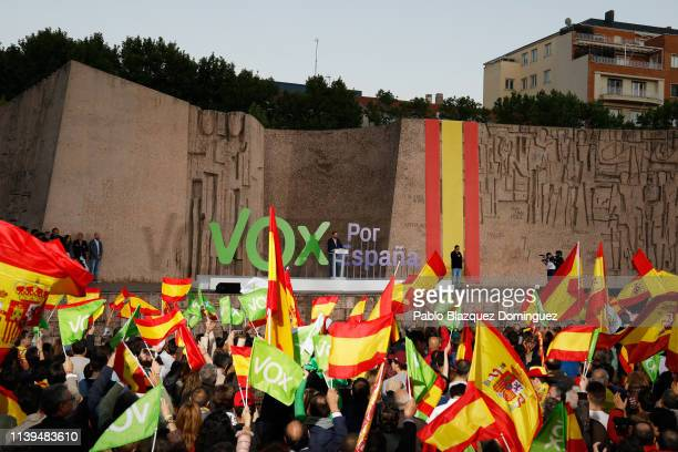 Leader of far right wing party VOX, Santiago Abascal takes part in the VOX closing rally on April 26, 2019 in Madrid, Spain. Spaniards go to the...
