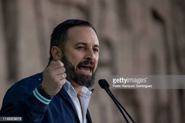 Leader of far right wing party VOX Santiago Abascal takes part in the VOX closing rally on April 26 2019 in Madrid Spain Spaniards go to the polls to...