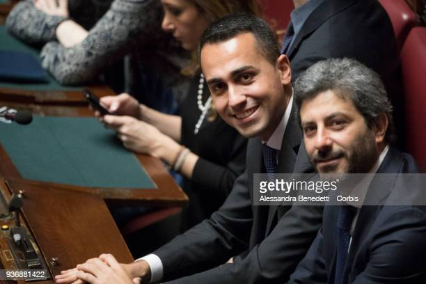 Leader of Five Stars Movement Luigi Di Maio attends the first session of voting at the Deputy Chamber on March 23 2018 in Rome Italy Italy Italy's...