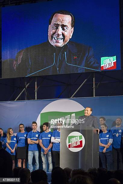 Leader of Forza Italia party Silvio Berlusconi speaks during a meeting as he promotes Adriana Poli Bortone candidate for the next regional elections...