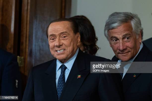 leader of Forza Italia Silvio Berlusconi seen after a meeting with the Italian President Sergio Mattarella for the consultations with political...