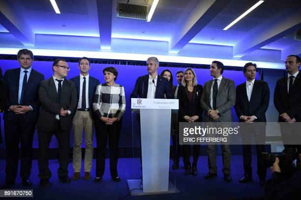 Leader of France's Les Republicains Party Laurent Wauquiez is watched by party officials including Gilles Platret Annie Genevard Damien Abad...