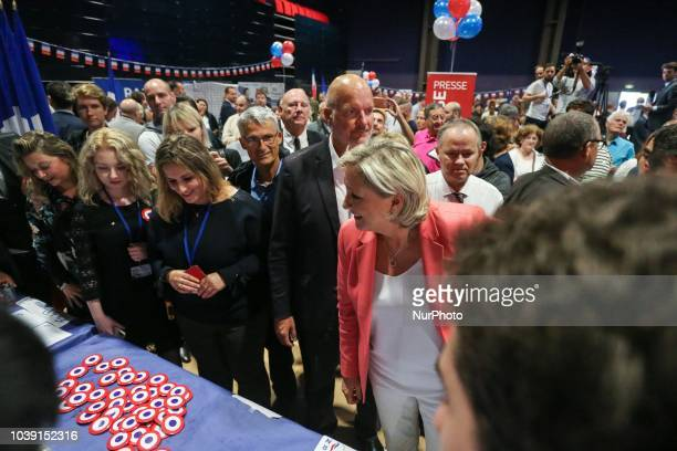 Leader of France's Rassemblement National farright political party Marine Le Pen meets supporters during RN party's fair Fete du drapeau on September...