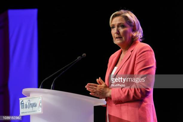 Leader of France's Rassemblement National farright political party Marine Le Pen speaks during RN party's fair Fete du drapeau on September 23 2018...