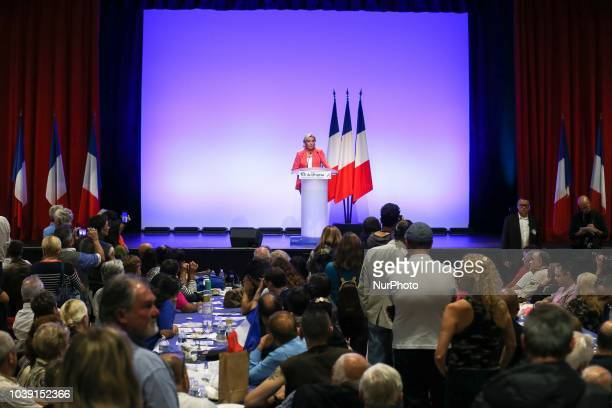 Leader of France's Rassemblement National farright political party Marine Le Pen speaks during RN party's fair Fete du drapeau on September 23 2018...