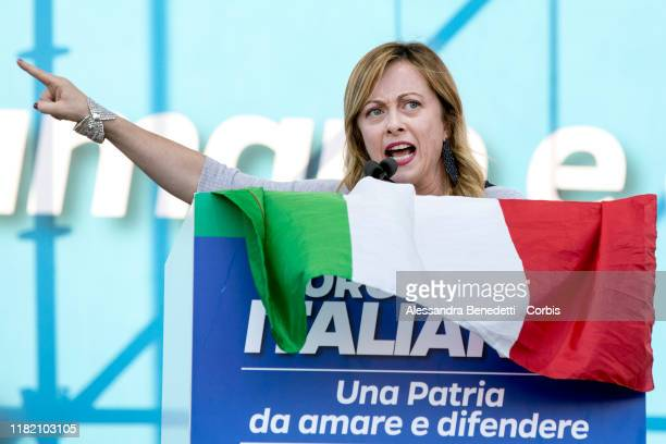 Leader of Fratelli D'Italia party Giorgia Meloni addresses supporters during a rally against the Italian government in San Giovanni Square on October...