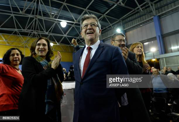Leader of French leftist party 'La France insoumise' JeanLuc Melenchon 'Catalunya en comu podem' electoral coalition candidate Xavi Domenech and...