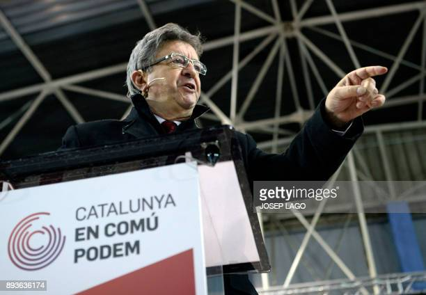 Leader of French leftist party 'La France insoumise' JeanLuc Melenchon speaks during a campaign meeting of 'Catalunya en comu podem' electoral...