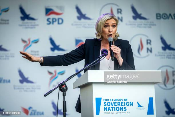 Leader of French National Rally party Marine Le Pen during a meeting of populist farright party leaders in Wenceslas Square on April 25 2019 in...