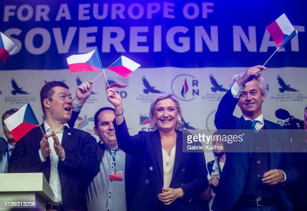Leader of French National Rally party Marine Le Pen , leader of Czech Freedom and Direct Democracy party Tomio Okamura and leader of Dutch Party for...