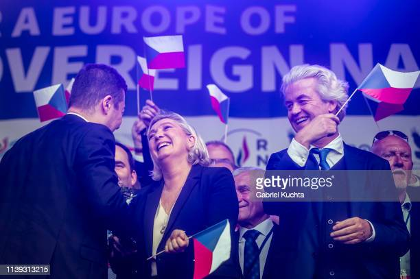 Leader of French National Rally party Marine Le Pen leader of Czech Freedom and Direct Democracy party Tomio Okamura and leader of Dutch Party for...