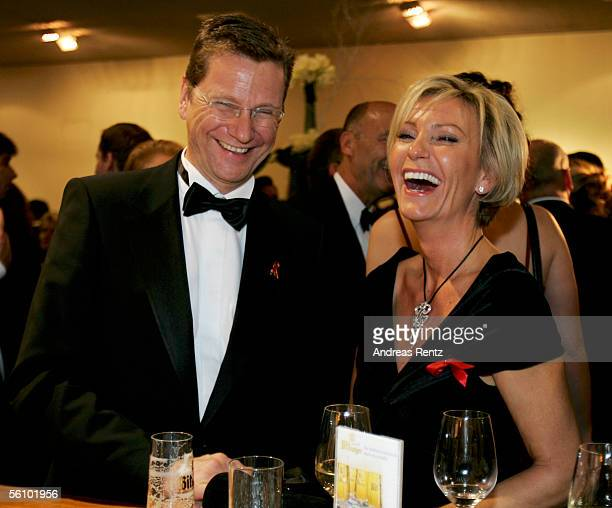 Leader of Germany's Free Democrats Guido Westerwelle and television hostess Sabine Christiansen attend at the AIDS Benefit Opera Gala on November 5...