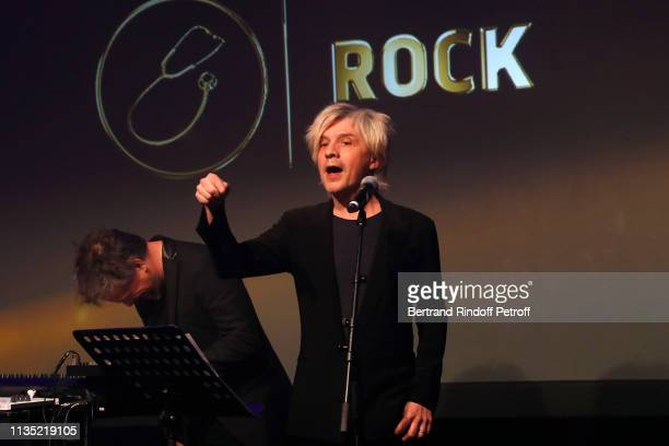 Leader of Group Indochine Nicola Sirkis performs during the Stethos d'Or 2019 Charity Gala of the Foundation for Physiological Research at on March...