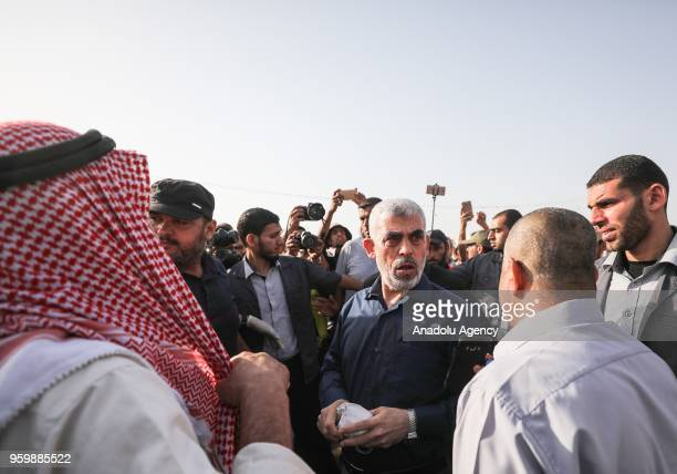 Leader of Hamas in the Gaza Strip Yahya Sinwar gathers with demonstrators during a demonstration within the Great March of Return in Khan Yunis Gaza...
