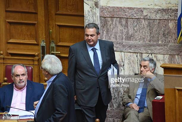 PARLIAMENT ATHENS ATTIKI GREECE Leader of Independent Greeks Party and minister of Defense Panos Kammenos during his entrance in Hellenic Parliament...