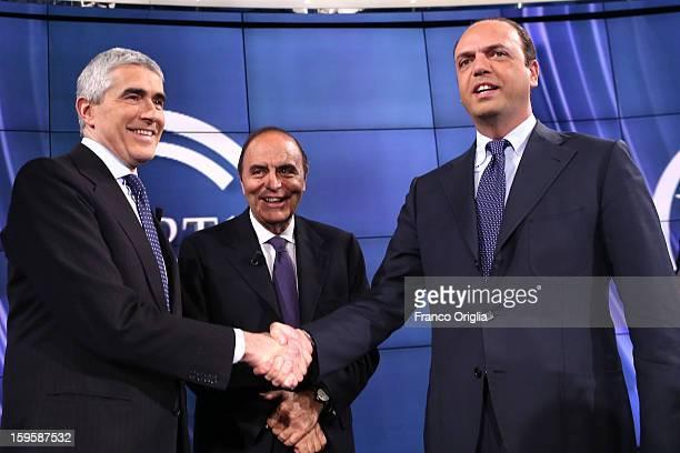 Leader of Italy's centrist Catholic UDC party Pier Ferdinando Casini TV conductor Bruno Vespa and secretary general of the Popolo della Liberta party...