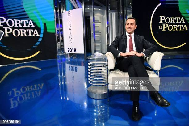 Leader of Italy's populist Five Star Movement Luigi Di Maio poses for a photograph on March 2 2018 on the set of the broadcast 'Porta a Porta' a...
