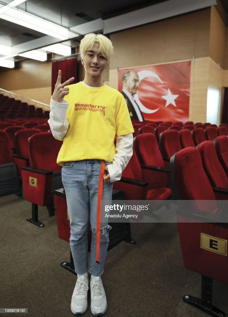 Leader of Korean pop band Newkidd, Jin Kwon poses for a photo during press briefing as he and his group members prepare to hold their first foreign concert within the 2018 K-POP World Festival that held by the Undersecretariat of Culture of the Embassy of South Korea in Ankara, Turkey on July 21, 2018.