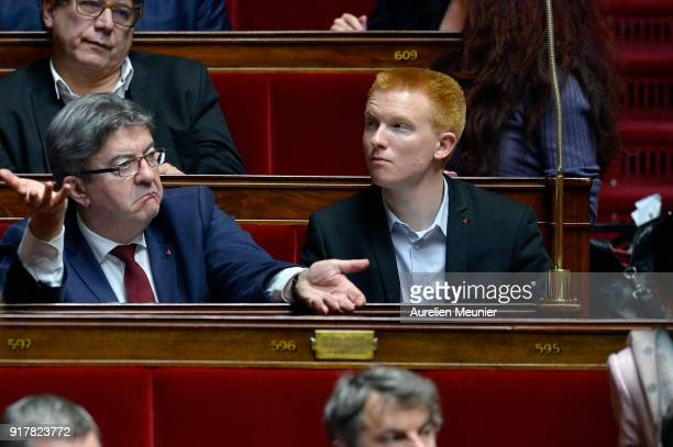 Leader of 'La France Insoumise' Jean Luc Melenchon and Deputy Adrien Quatennens react as Ministers answer deputies questions during the weekly...