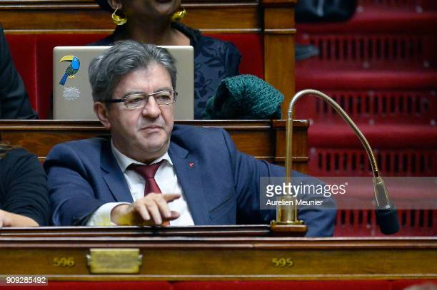 Leader of 'La France Insoumise' Jean Luc Melenchon reacts as Ministers answer deputies' questions during a session of questions to the Government at...