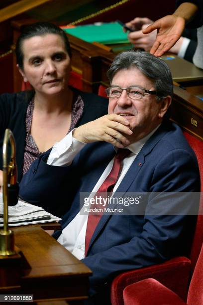 Leader of 'La France Insoumise' Jean Luc Melenchon reacts as Ministers answer deputies questions during the weekly session of questions to the...