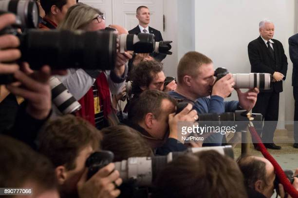 Leader of Law and Justice party Jaroslaw Kaczynski and photographers during the new Polish Government appointment ceremony in Presidential Palace in...