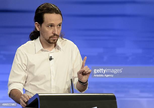 Leader of left wing party Podemos Pablo Iglesias speaks during a debate organized by Spanish newspaper El Pais in Madrid ahead of the Spanish general...