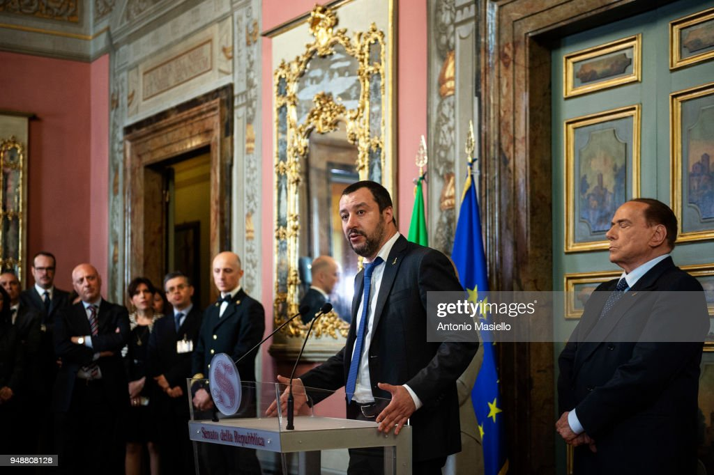 Leader of Lega, Matteo Salvini(C), leader of Forza Italia, Silvio Berlusconi(R) speak at a press conference following a meeting with Italian Senate President, Elisabetta Casellati (not in picture) on the formation of the new government on April 19, 2018 in Rome, Italy.