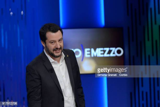 Leader of Lega Nord party Matteo Salvini attend Otto e Mezzo talk show on February 13 2018 in Rome Italy The Italian General Election takes place on...