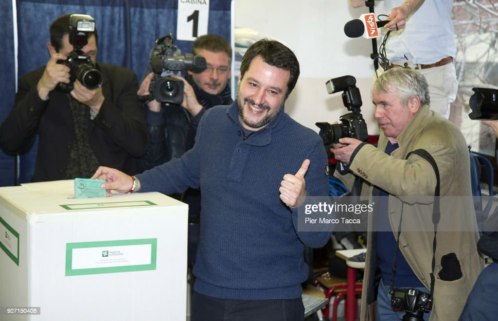 Leader of Lega Nord party Matteo Salvini votes in the Italian General Election at a polling station on March 4, 2018 in Milan, Italy. The economy and immigration are key factors in the 2018 Italian General Election after parliament was dissolved in December 2017. Campaigning on the right are Silvio Berlusconi of Forza Italia teaming up with Matteo Salvini of the Eurosceptic Lega. While on the centre-left is Mario Renzi, leader of the Democratic Party. Challenging both camps is the leader of the Five Star Movement, Luigi Di Maio.