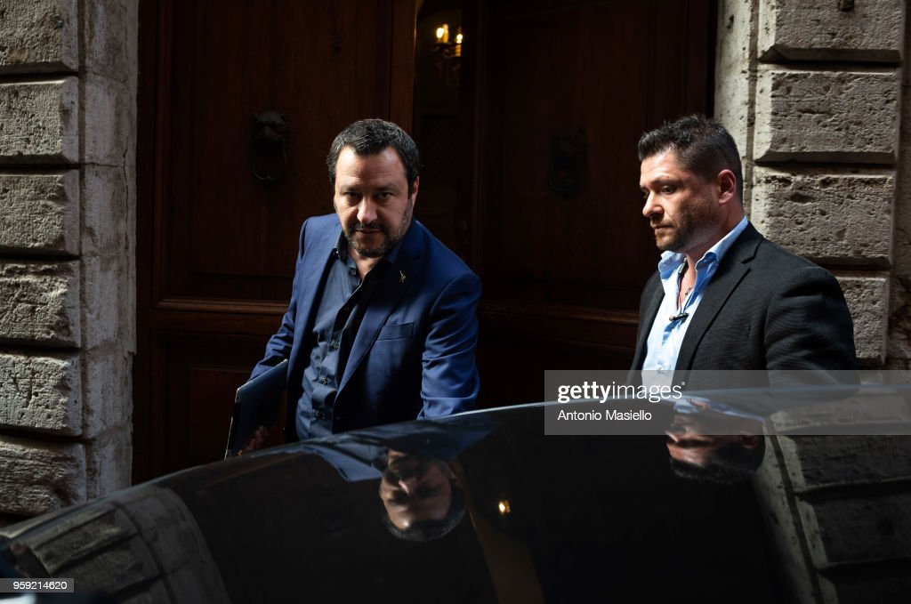 Leader of Lega political party, Matteo Salvini, leaves his home during a new day of meetings for the formation of the new government on May 16, 2018 in Rome, Italy. Today, 5-Star Movement (M5S) leader Luigi Di Maio said that he and Lega leader Matteo Salvini were willing to be outside the government team if this were necessary to make a M5S-Lega executive possible.