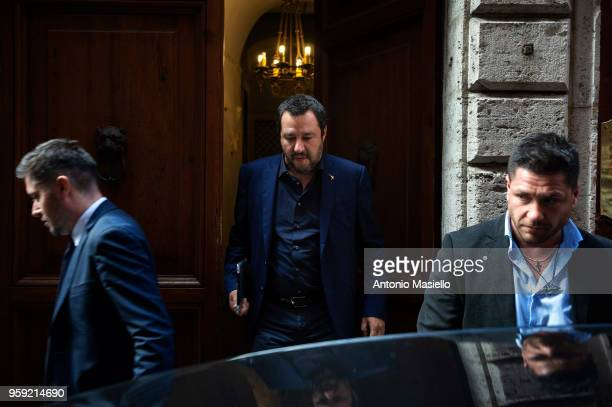 Leader of Lega political party Matteo Salvini leaves his home during a new day of meetings for the formation of the new government on May 16 2018 in...