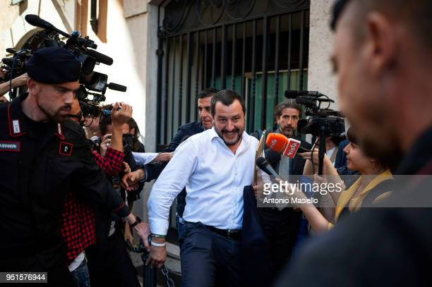 Leader of Lega political party Matteo Salvini leaves the parliament after a new day of meetings for the formation of the new government on April 26...