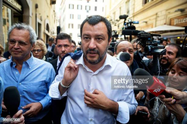 Leader of Lega political party Matteo Salvini speaks to the press after a new day of meetings for the formation of the new government on May 9 2018...